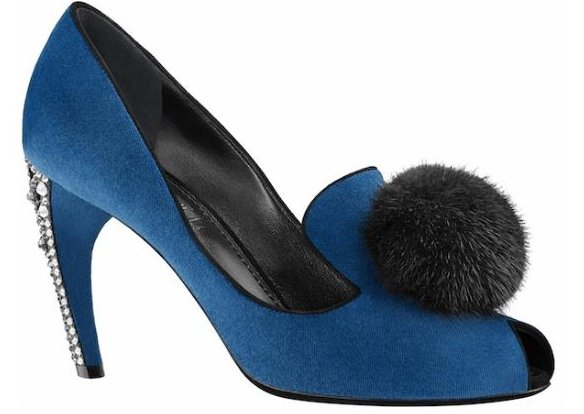 Louis Vuitton Frill Pompom Pumps in Bleu