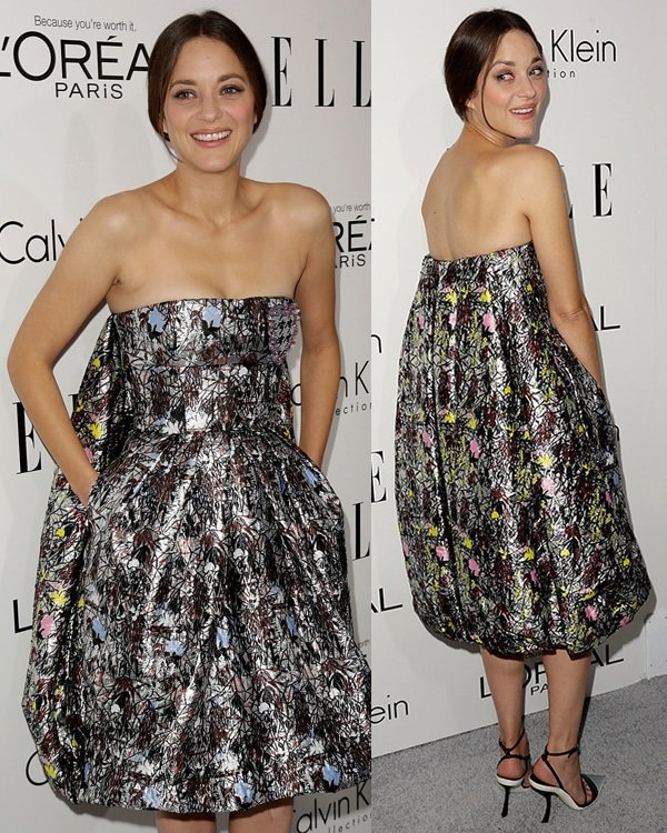 Marion Cotillard in a printed Dior dress that did absolutely nothing to compliment her figure