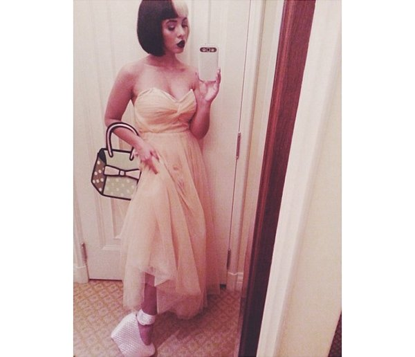Melanie Martinez's Instagram photo where she is wearing a prom dress and Jeffrey Campbell shoes on October 4, 2013