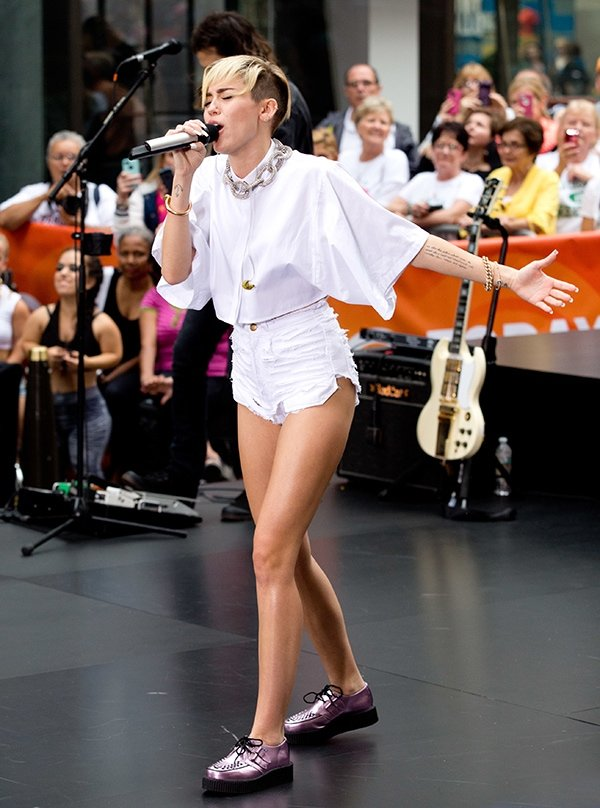 "Miley Cyrus performing ""We Can't Stop,"" ""Party in the U.S.A.,"" and ""Wrecking Ball"" for The Today Show at Rockefeller Plaza in New York on October 7, 2013"