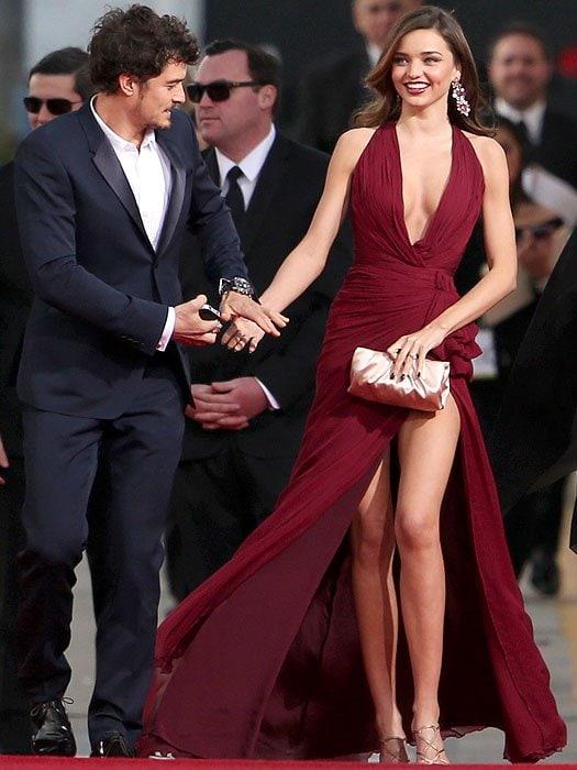 Orlando Bloom and Miranda Kerr arrive at the 70th Annual Golden Globe Awards