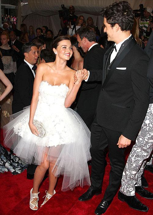 "Miranda Kerr wears a pair of Nicholas Kirkwood shoes on her feet at the ""Savage Beauty"" Costume Institute Gala 2011"