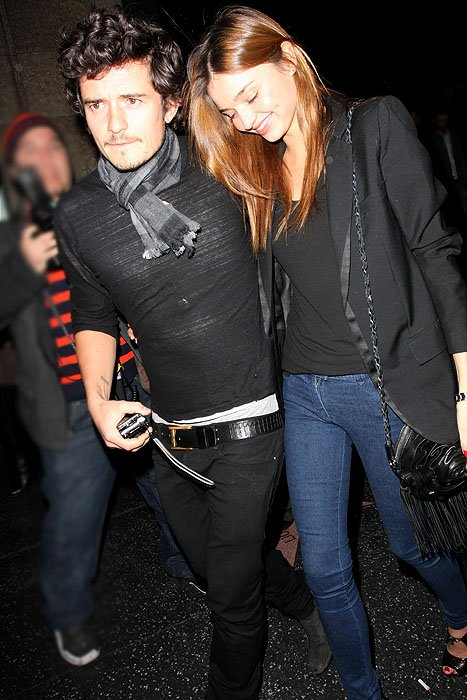 Orlando Bloom and Miranda Kerr exit Katsuya restaurant in Los Angeles