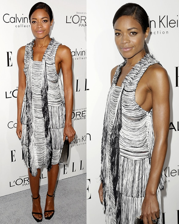 Naomie Harris showed up in a shapeless fringed Calvin Klein dress