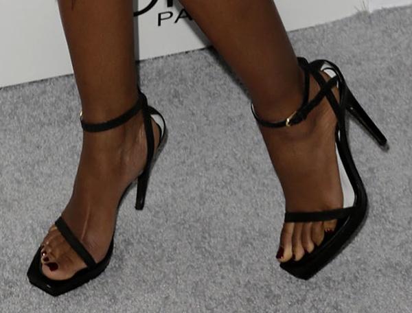Naomie Harris in black squared-toe sandals