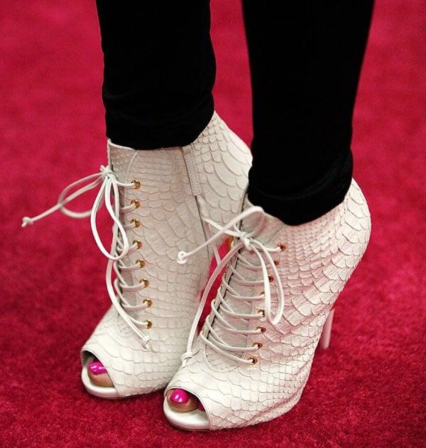 Nicki Minaj rockingwhite crocskin Giuseppe Zanotti booties