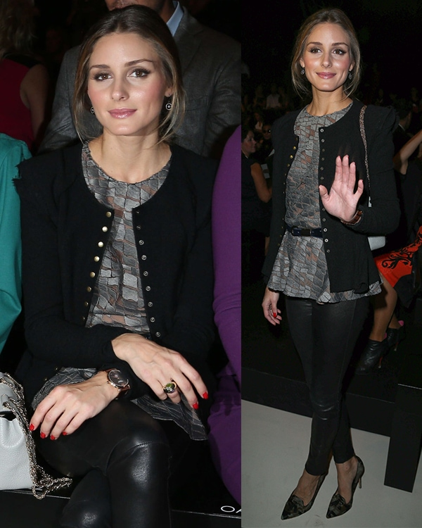 Olivia Palermo at the Elie Saab fashion show during the Paris Fashion Week SS14 in France on September 30, 2013