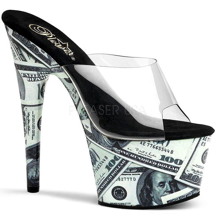 Pleaser Money Print Platform Sandals