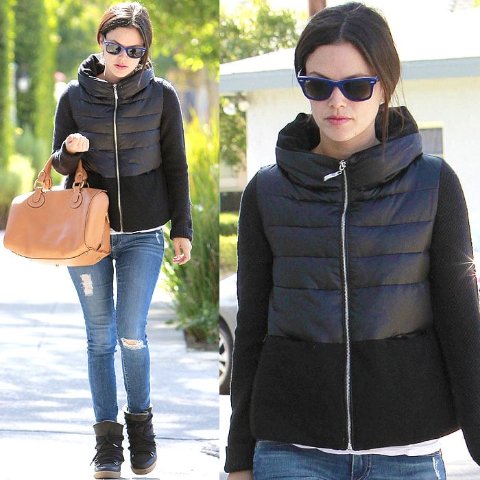 Rachel Bilson wears AG skinny jeans with shredded holes and allover fading