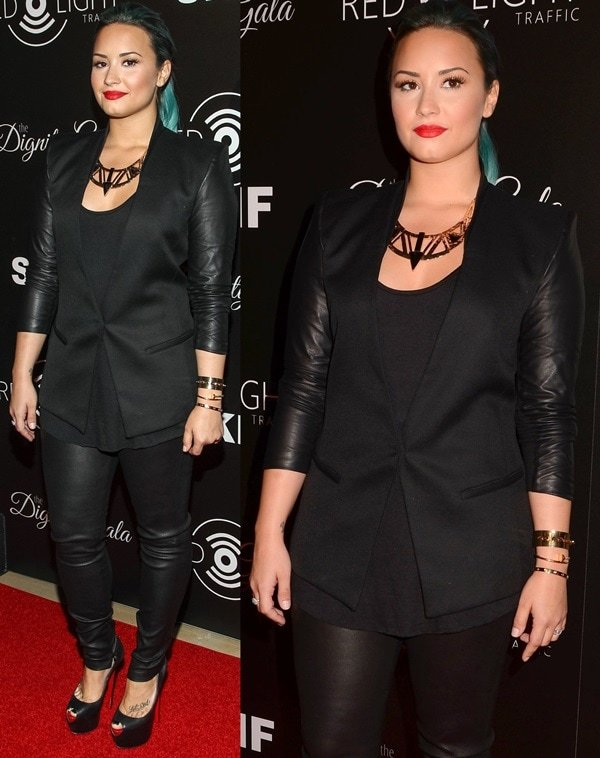 Demi Lovato arrives at the launch of the Redlight Traffic APP - Dignity Gala held at The Beverly Hilton Hotel on October 18, 2013 in Beverly Hills, California
