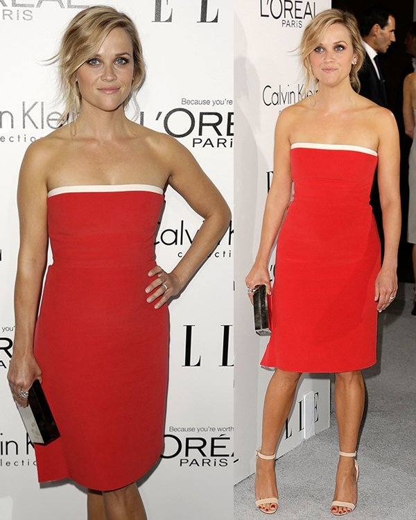 Reese Witherspoon was red hot in a strapless Calvin Klein dress that highlighted her curves