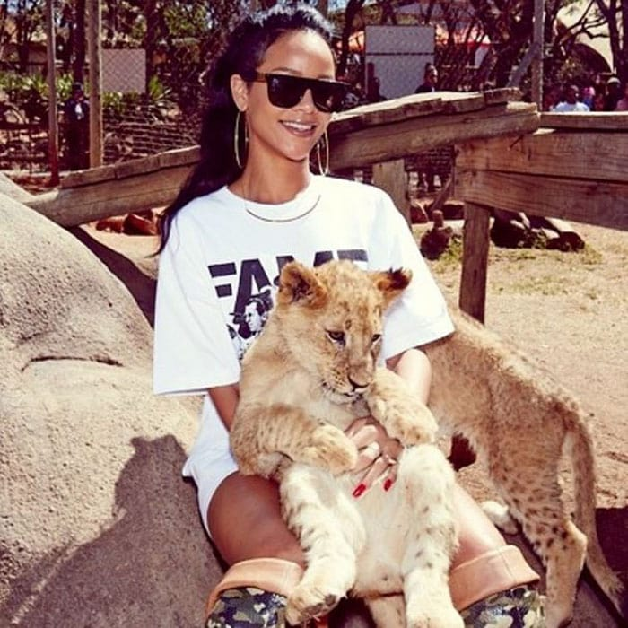 Rihanna visits an animal sanctuary in Johannesburg on October 14, 2013