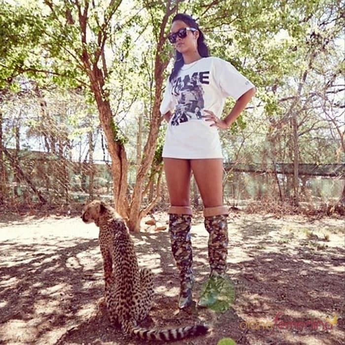 Rihanna rockscamo-printed thigh-high boots while on safari