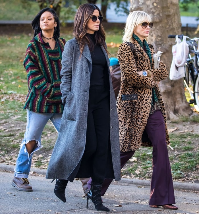 Sandra Bullock, on the set of Oceans 8 with Rihanna and Cate Blanchett in 2016, speaks German in her role as Debbie Ocean