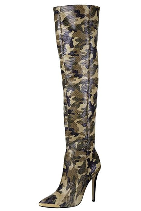 Rihanna for River Island Camouflage Thigh-High Boots