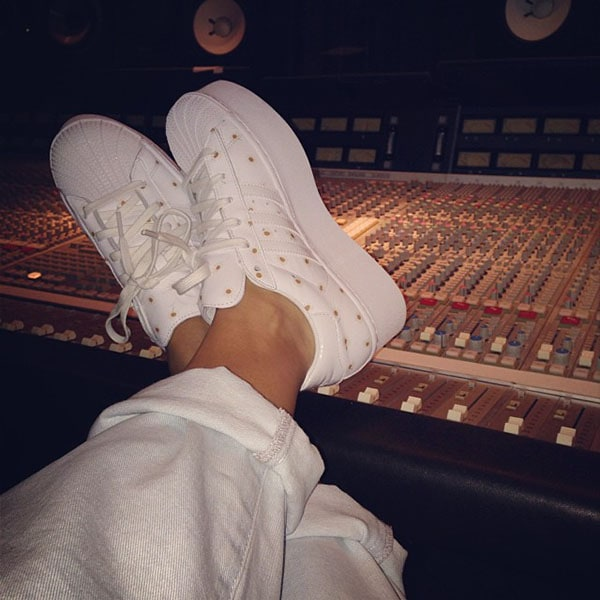 Rita Ora's Adidas x Opening Ceremony sneakers shared on her Instagram on October 10, 2013