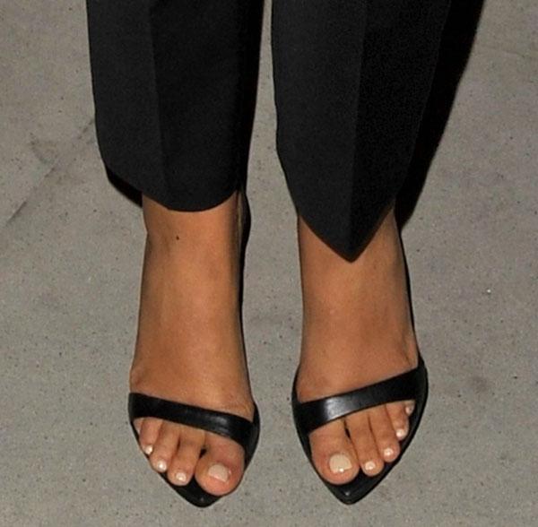 Rochelle Humes wearing Zara sandals
