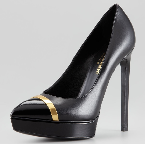 Saint Laurent Janis Metal-Trim Cap-Toe Platform Pumps