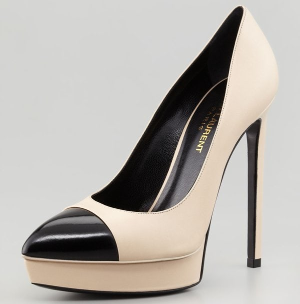 Saint Laurent Janis Two-Tone Cap-Toe Platform Pumps