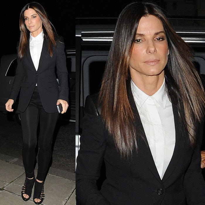"Sandra Bullock arrives at Warwick Square after leaving the ""Gravity"" film screening"