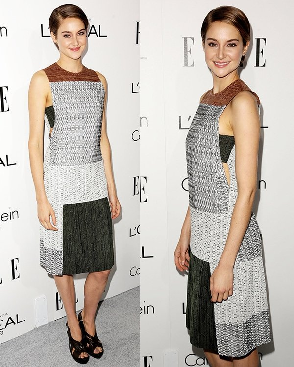 Shailene Woodley in an unflattering dress that features geometric prints in muted shades