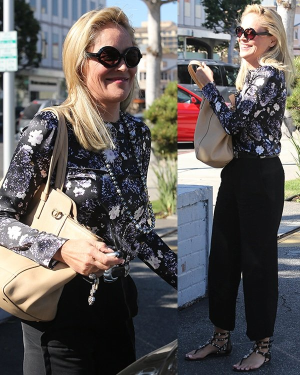 Sharon Stone looked fabulous in a monochrome outfit in Beverly Hills