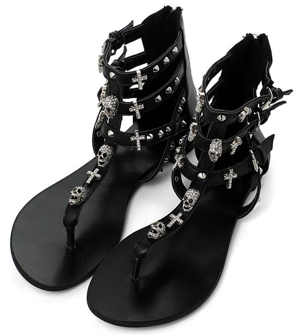 Skull Stud Multi-strap Flat Sandals