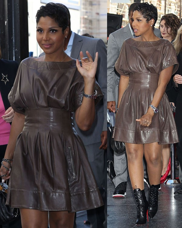 Toni Braxton showing off her sexy legs ina leather sheath dress that accentuated her well-defined waist