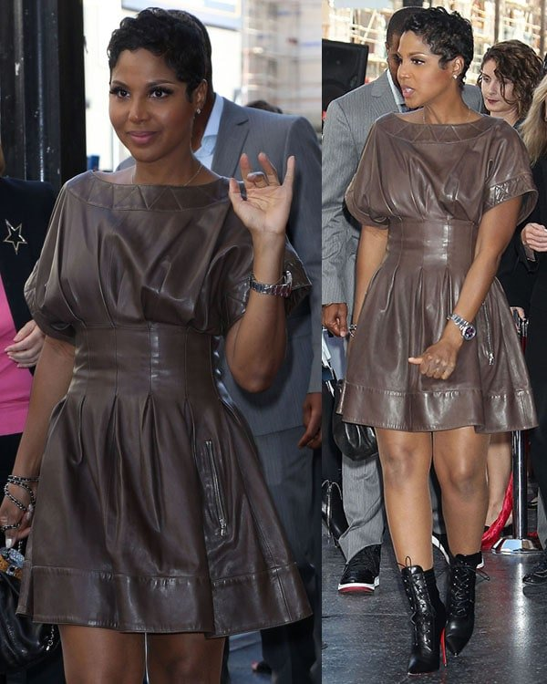 Toni Braxton paired the leather boots with a chocolate leather sheath dress that showed off her stunningly long legs