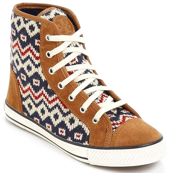 Chunky knit insets and genuine sheepskin lining cozy up a high-top sneaker with colorful charm.