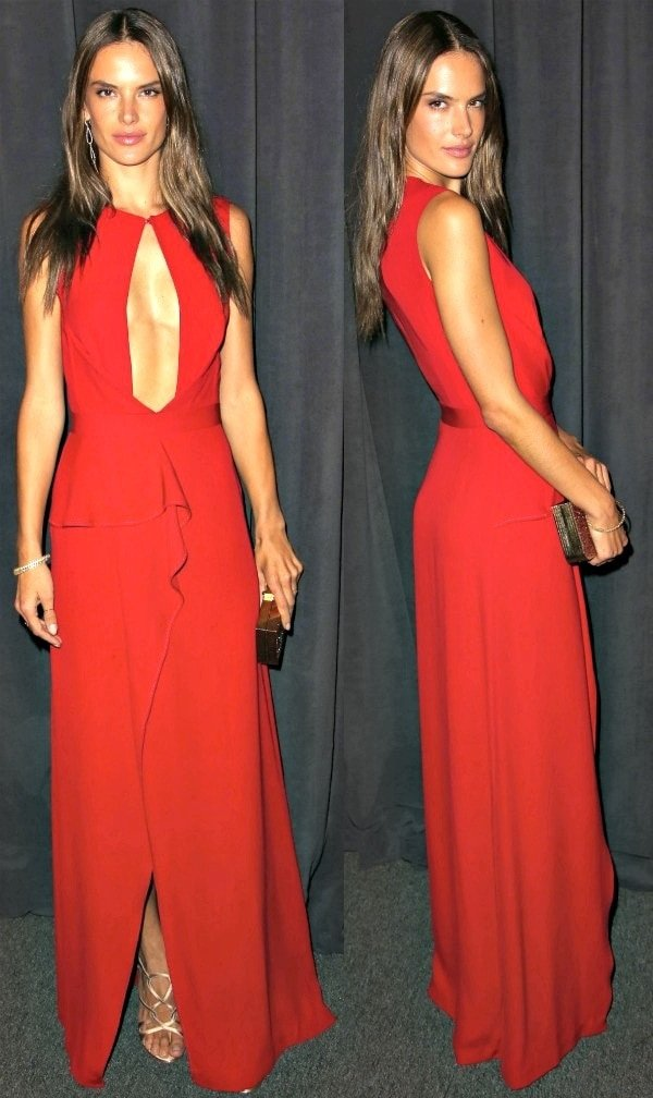 Alessandra Ambrosio in a red keyhole dress at the 2013 Wallis Annenberg Center for the Performing Arts Inaugural Gala