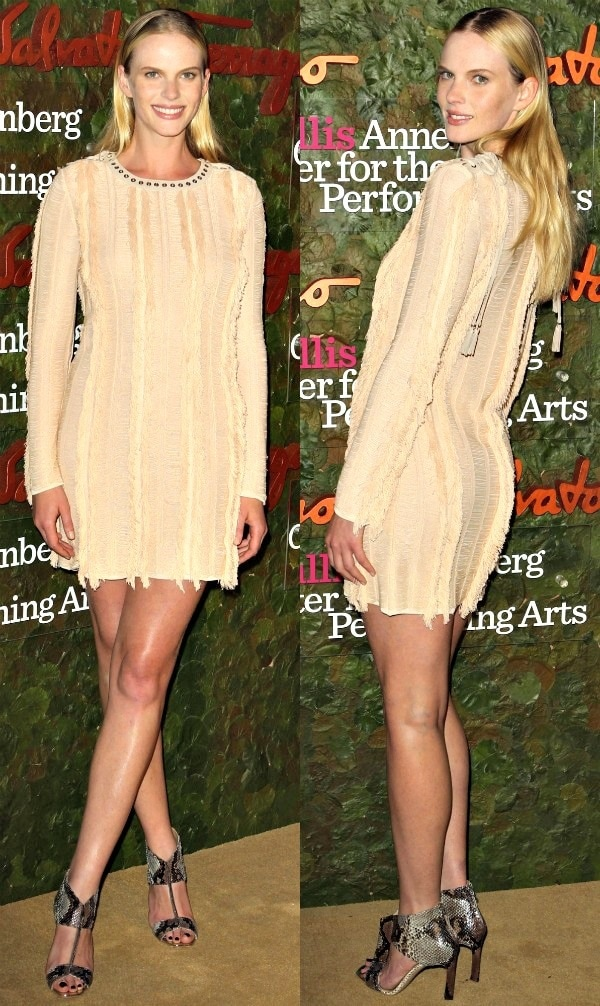 Anne Vyalitsynain a cream-colored dress at the 2013 Wallis Annenberg Center for the Performing Arts Inaugural Gala
