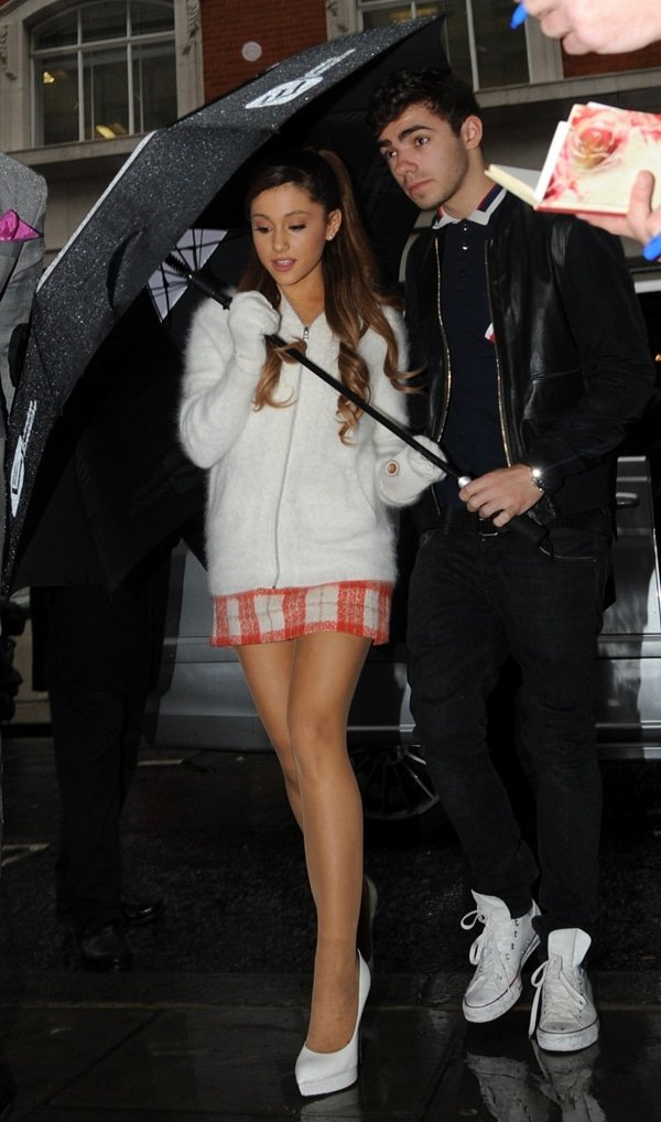 Ariana Grande and Nathan Skyes arriving at BBC Radio 2