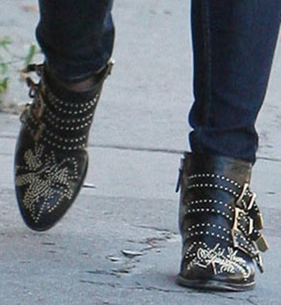 Ashley Greene wearing Chloe Susanna studded buckled boots