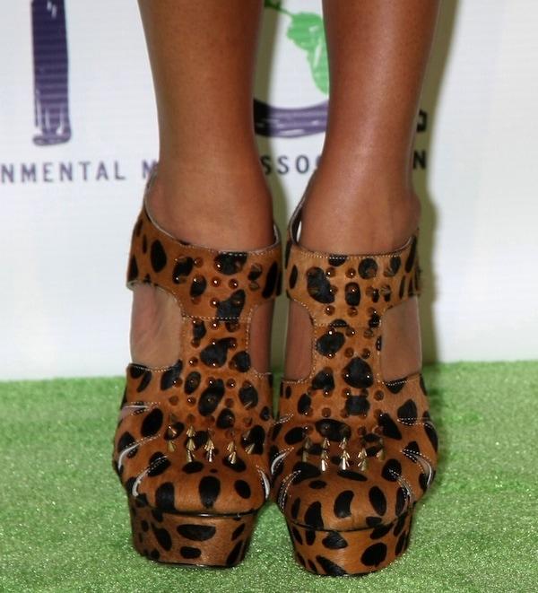 Ashley Madekwe wearing Kandee 'Peanut Crunch' leopard-print heels