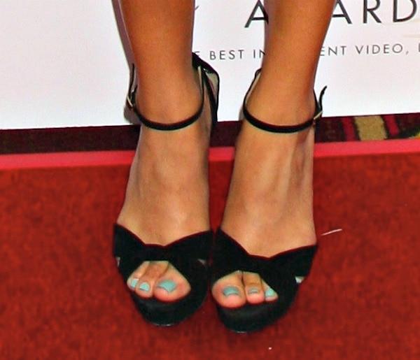 Ashley Madekwe's hot feet in Jimmy Choo Greta sandals