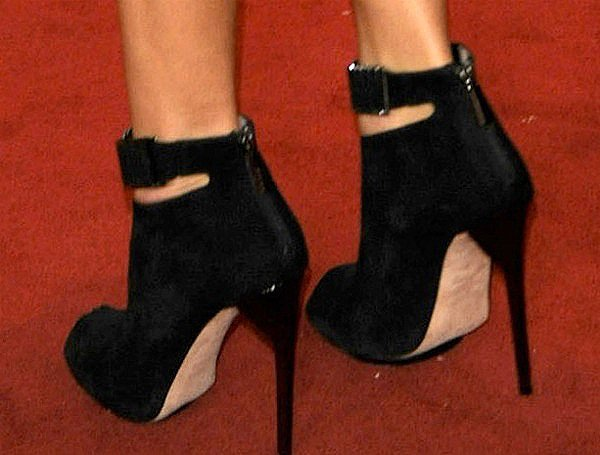 Ashley Madekwe wearing Herve Leger by Max Azria 'Willow' peep-toe booties