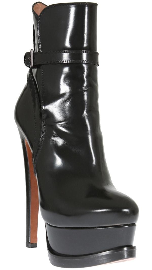 Azzedine Alaia Black Glazed Leather Bootie