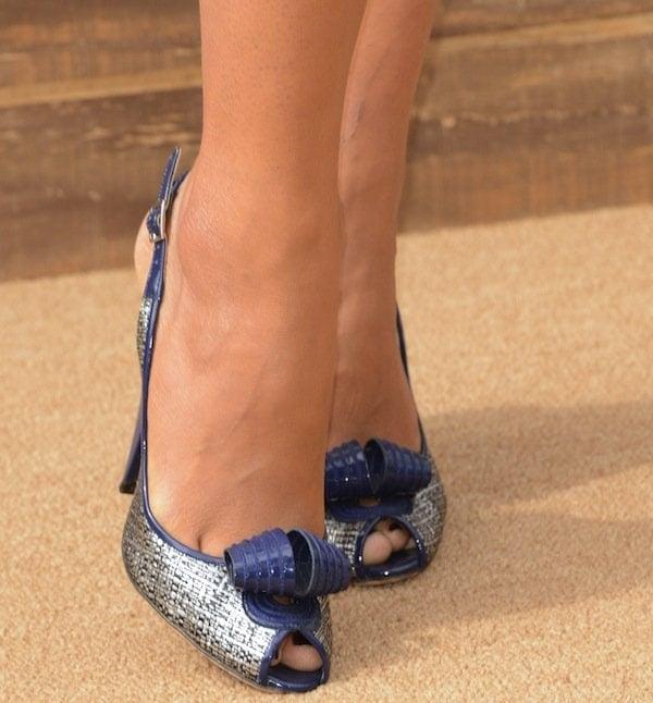Camila Alves'peep-toe silver-and-blue slingback pumps