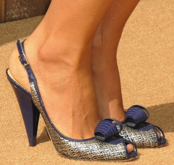 Camila Alves showing off her feet in slingback pumps