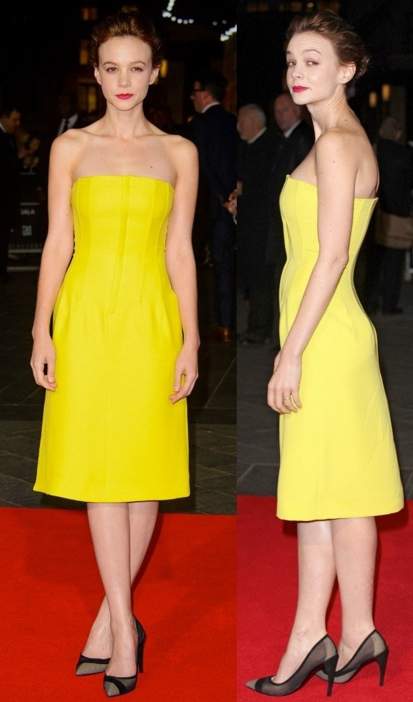 Carey Mulligan flaunts her legs in yellow dress