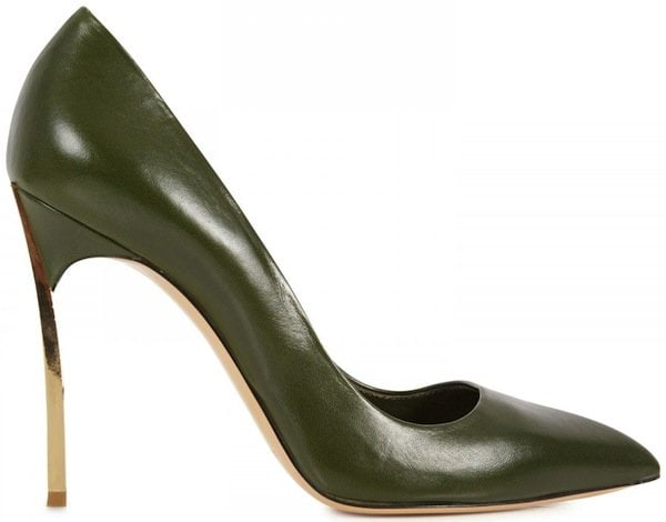 "Casadei Olive Patent Leather ""Blade"" Pumps"