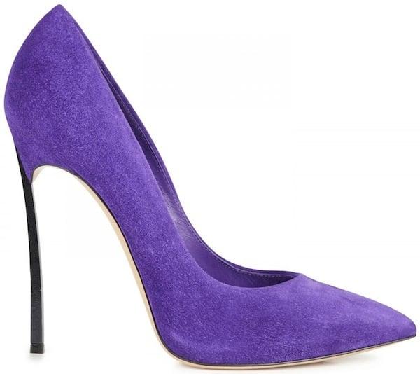 """Casadei Purple Suede """"Blade"""" Pumps"""