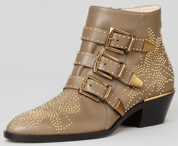 Chloe 'Suzanna' Studded Buckle Boots in Clay