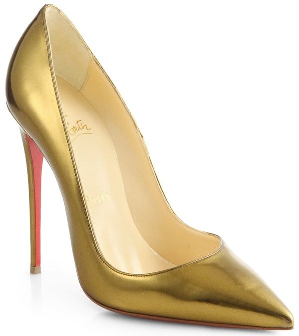 "Christian Louboutin Gold ""So Kate"" Specchio Leather Pumps"