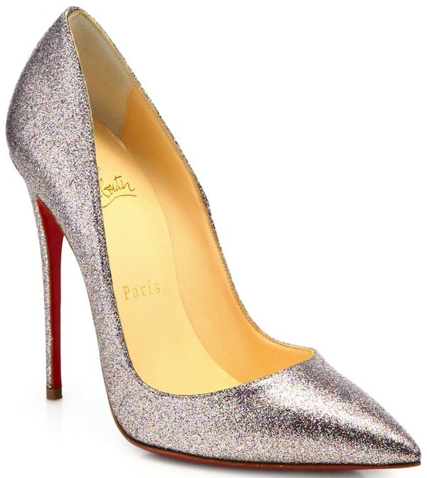 "Christian Louboutin Silver ""So Kate"" Glitter Pumps"