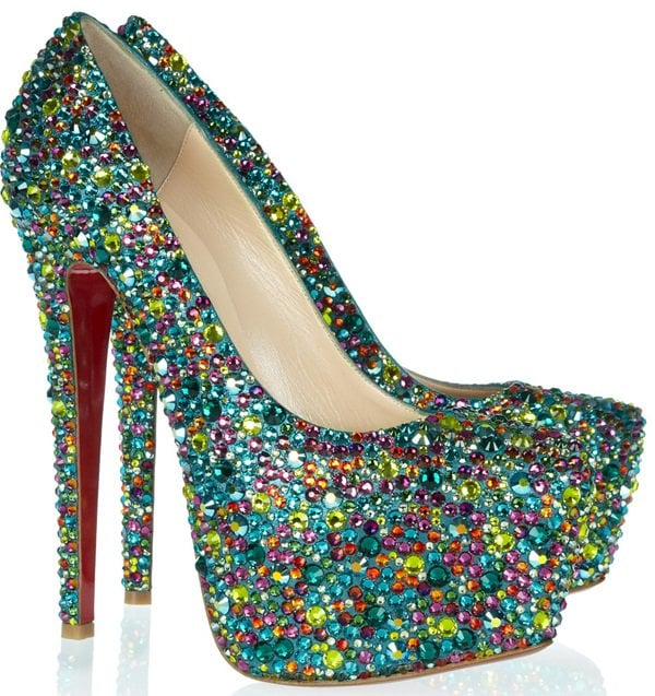 Christian Louboutin Crystal-Embellished Daffodile 160 mm Pumps in Candy Green