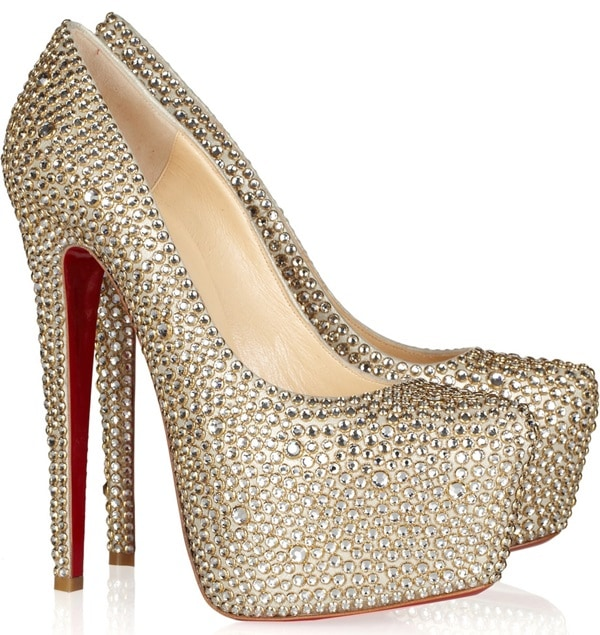 Christian Louboutin Crystal-Embellished Daffodile 160 mm Pumps in Champagne