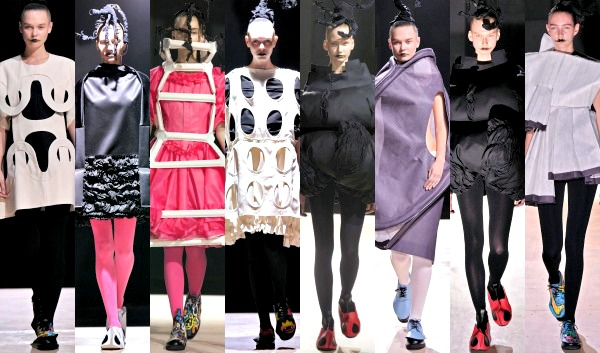 Models showing off the latest avant-garde designs from the Spring/Summer 2014 collection of Comme des Garçons during Paris Fashion Week held in Paris on September 28, 2013