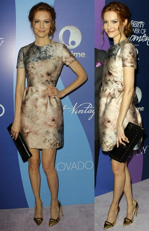 Darby Stanchfield looked beautiful in a Valentino short-sleeved frock with floral prints